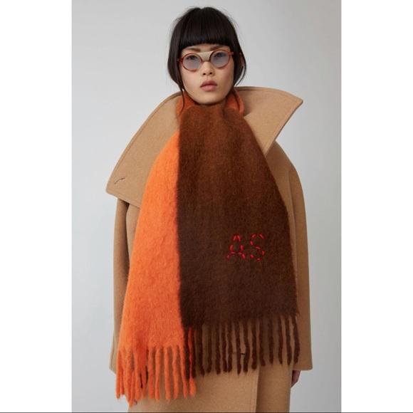 Acne Studios Skinny Dip-Dyed Scarf in Orange/Brown